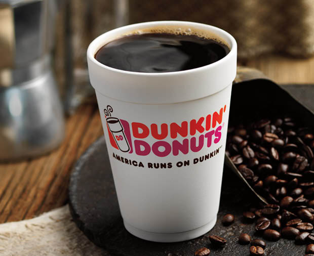 Hot coffee from Dunkin'.