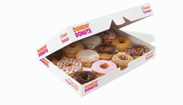 box of a dozen dunkin donuts