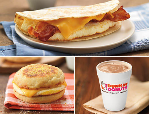 Breakfast sandwiches and coffee