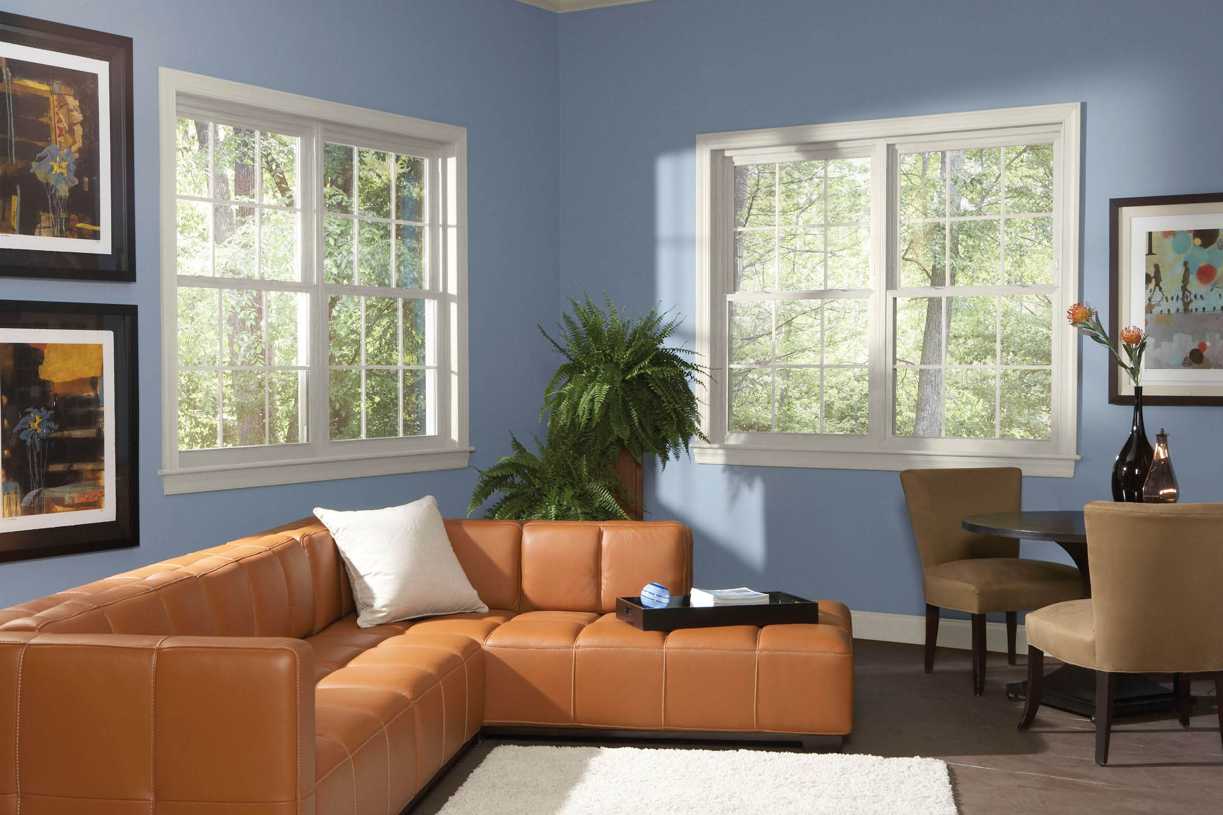 New double-hung windows in home living room; Window World window installation; Omaha, NE