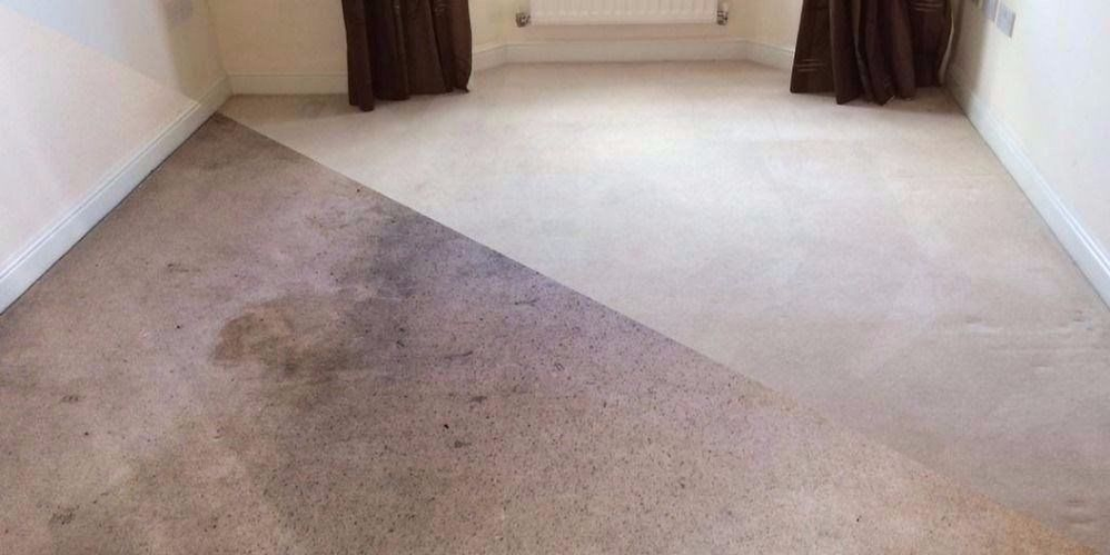 Before and after carpet cleaning in North Providence, RI