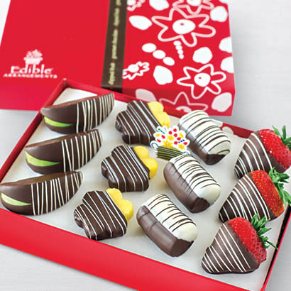 Dozen boxed gourmet chocolate-covered mixed fruits