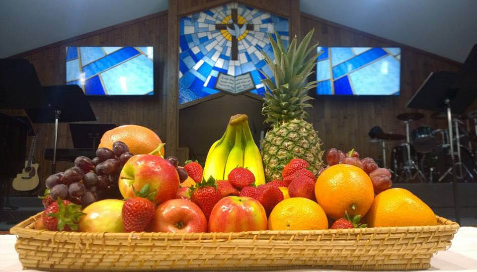 Beautiful fruit plate offering in Elk Grove Baptist Church