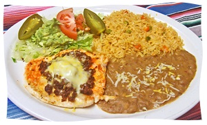 Enchiladas with Mexican Restaurant style Rice and Refried Beans