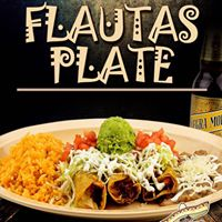 Delicious flautas plated with all the luscious accompaniments