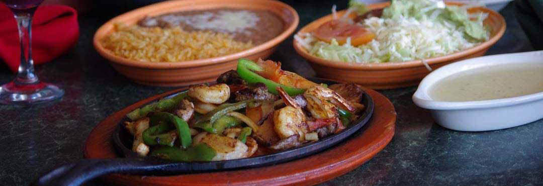 Sizzling El Porton Mexican foods, rice and beans banner