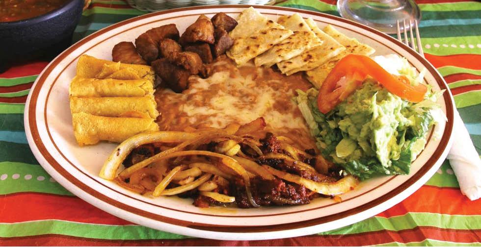 Mexican restaurant foods at El Sarape