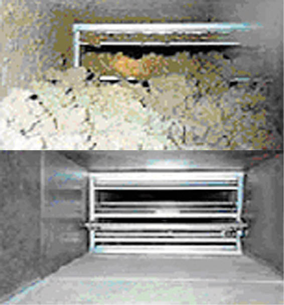 before and after of a clean and a dirty duct work in Kenosha