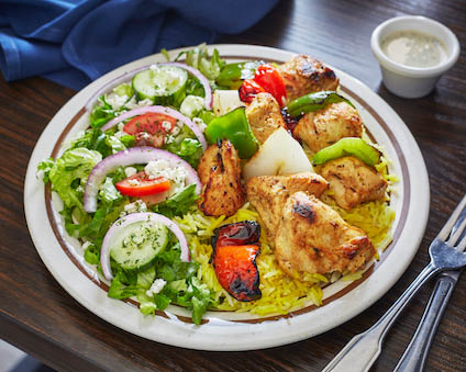 Delicious plated Chicken Kabobs