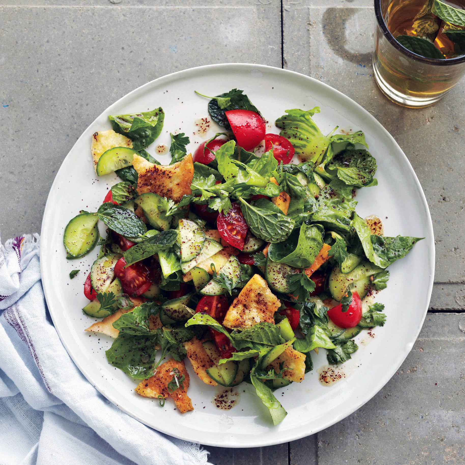 Fatoush Salad - Fresh veggies, herbs and spices with toasted pita bread