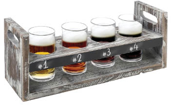 Flight of four beers and ciders in 5 oz. glasses