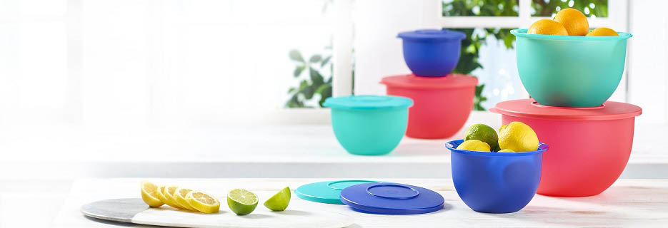 Brightly colored Tupperware containers on the counter