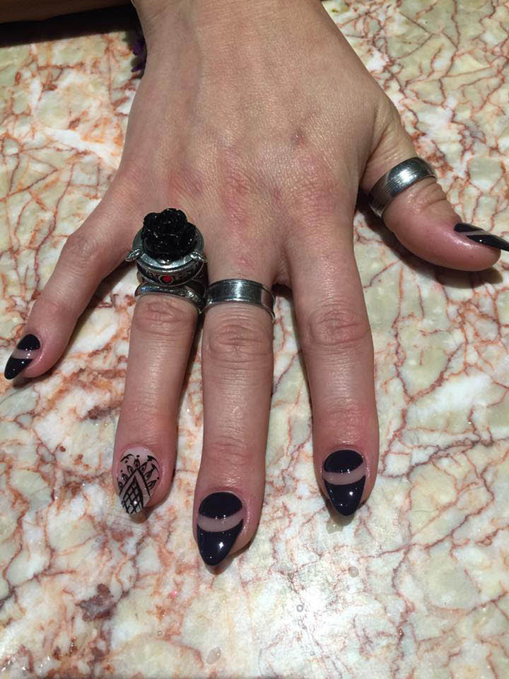Black nails from Fedora Kate Nails for day or evening wear