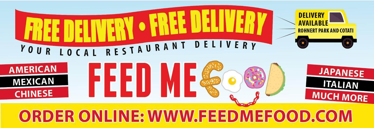 Free Delivery Order Online at FeedMeFood.com banner
