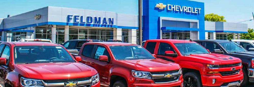 Chevy trucks at Feldman Chevrolet in Highland