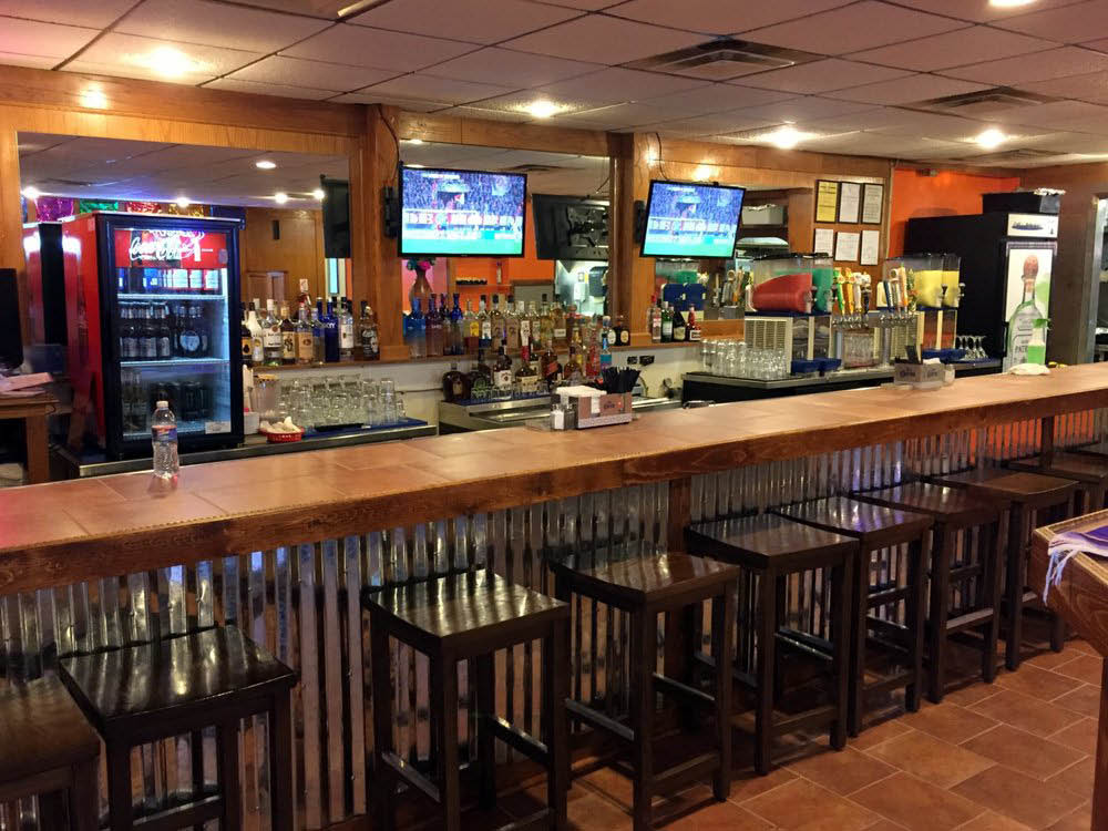Picture of the fully stocked bar at Fiesta Mexican Grill & Cantina