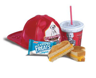 Hot grilled cheddar cheese, drink, dessert and a kid-sized fire hat