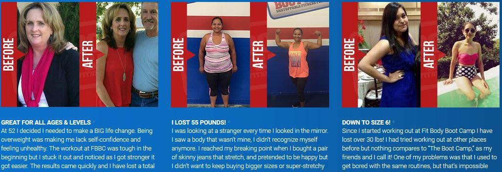 Three 'Before and After' Fit Body Boot Camp photos banner