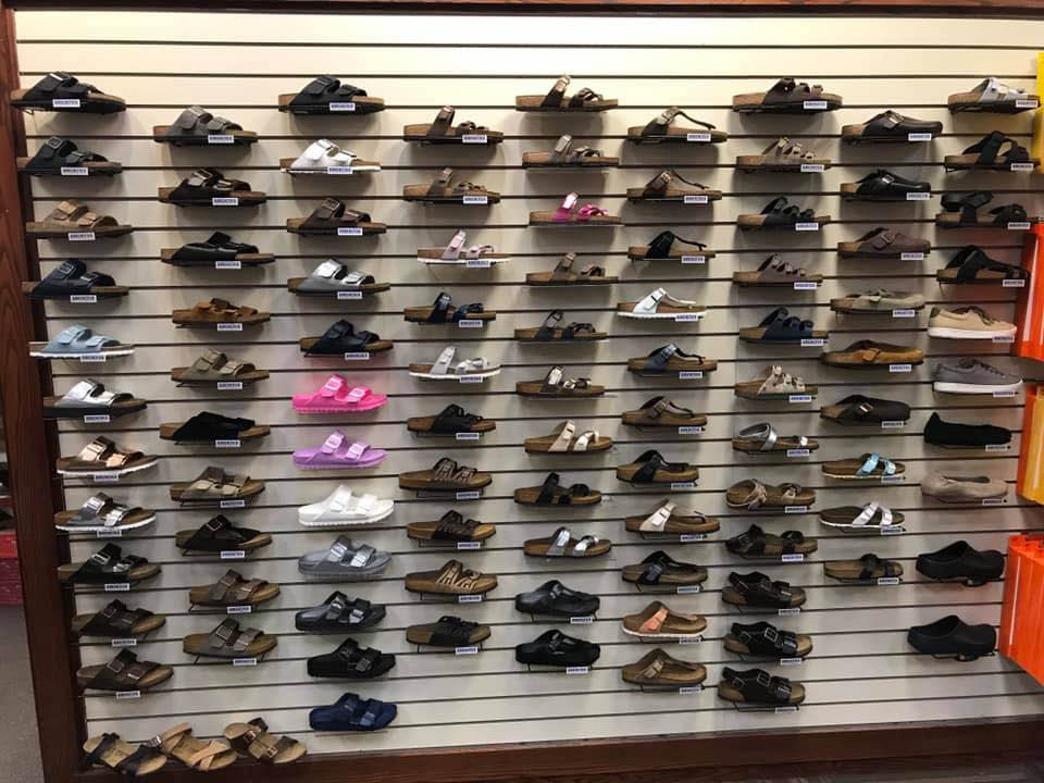 Many types and brands of walking sandals at Fit To Be Tied - WDM