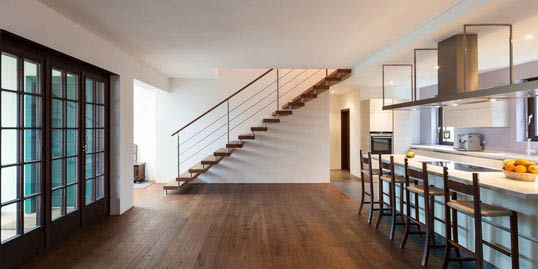 Use wood flooring for high traffic areas, commercial use or family rooms