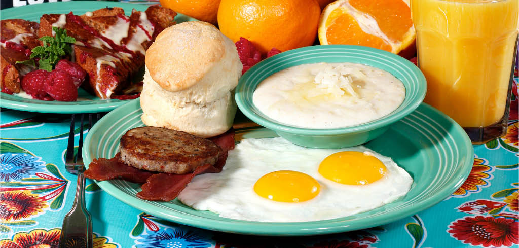 The traditional - eggs, bacon, sausage, grits and biscuits
