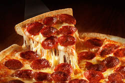 Hot, cheesy pepperoni pizza; Manheim pizza delivery