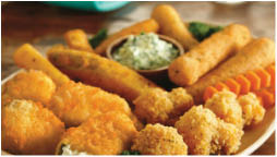 fried cheese sticks; fried mushrooms; appetizers