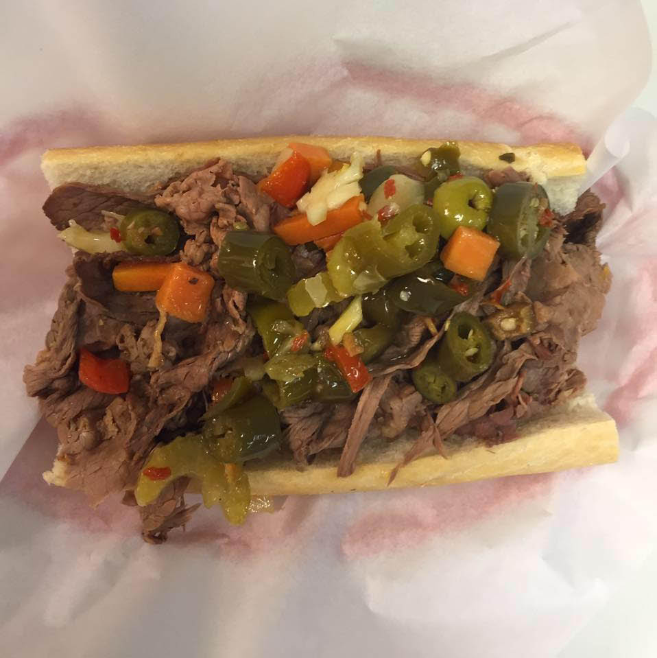Beef and giardinera on French roll at Frankie's Beef in Oak Lawn.