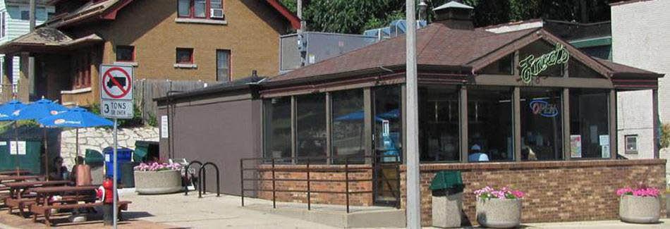 Milwaukee frozen custard shop Fred's Frozen Custard and Grill Restaurant banner.