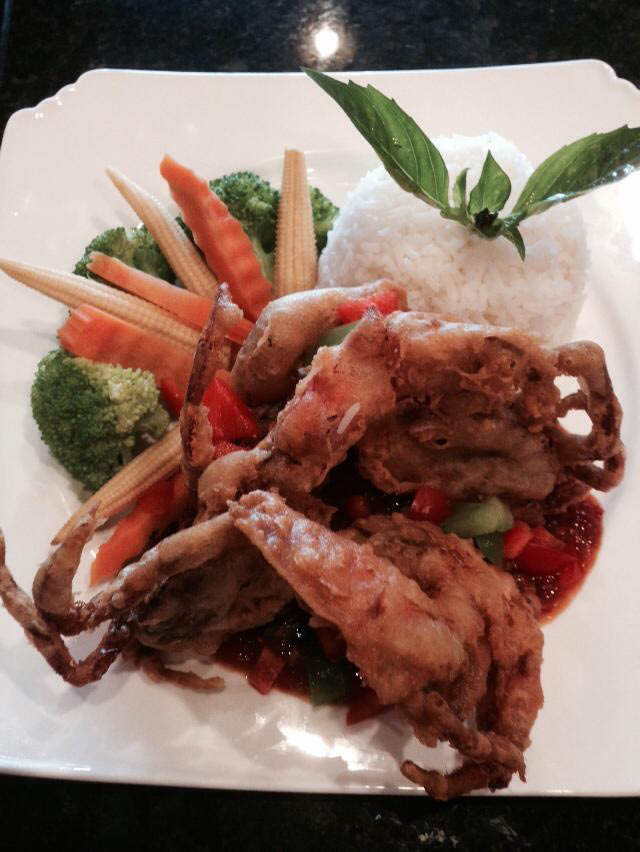 fried crab, rice, vegetables, rice and spice thai cuisine located in  alexandria, va