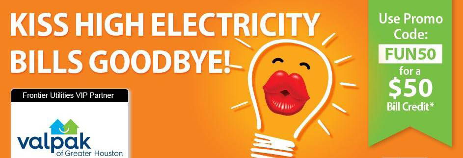 Lightbulb with kissy lips saying kiss high electricity bills goodbye!