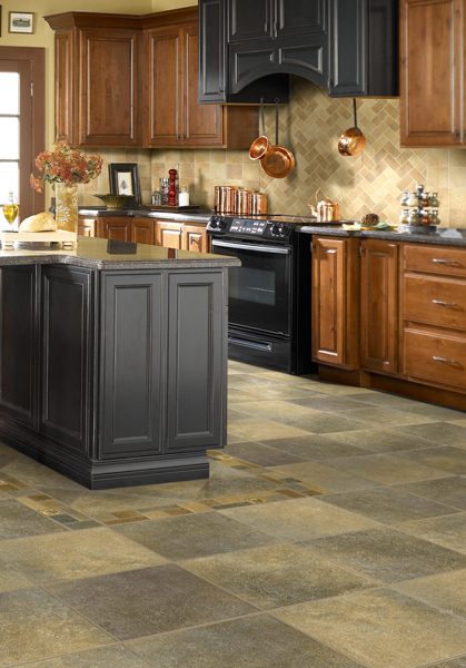 Beautiful and durable tile flooring offers easy clean up in high traffic areas