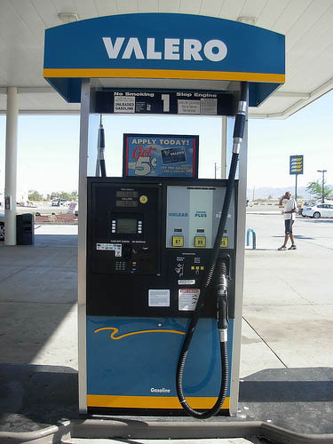 smog check, cheap gas at Valero near Downey, CA