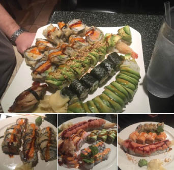 sushi, chicken, fish