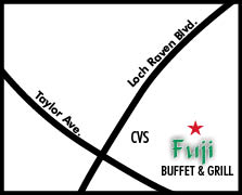 Map to fuji buffet and grill in towson, md,