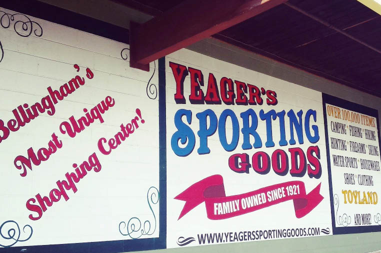 Yeager's Sporting Goods in Bellingham Washington sign on building