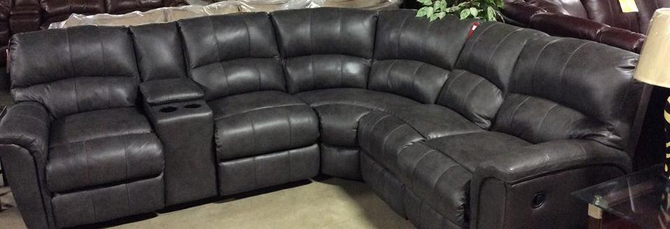 Lane 6 piece leather sectional now on sale at furniture Outlet.