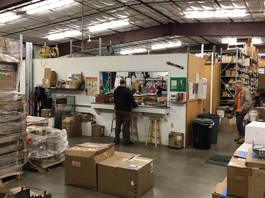 Well-stocked warehouse or parts and equipment