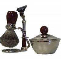 Old fashioned razor, lathering brush