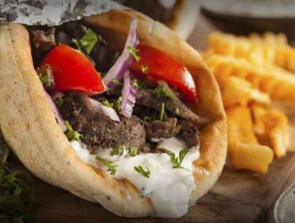 Close up of gyros and fries served at George's restaurant.