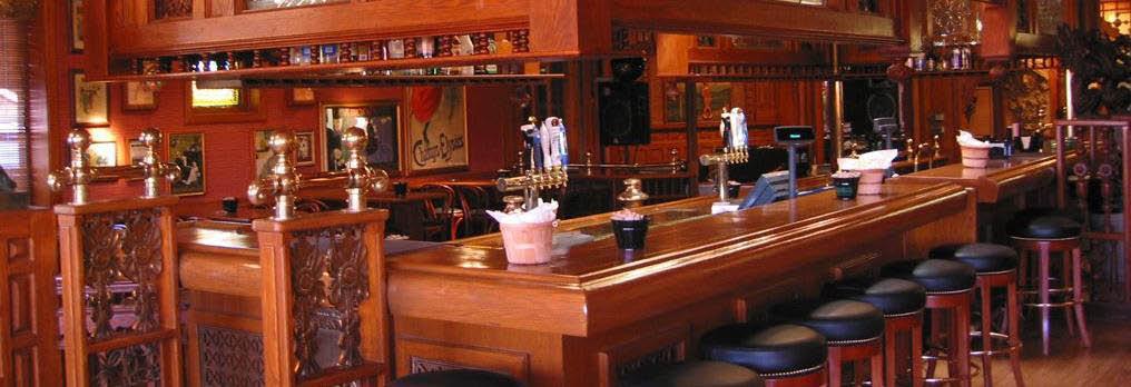 Gorgeous oak bar at Gilhooley's Grande Saloon in Chicago's Mt. Greenwood neighborhood.