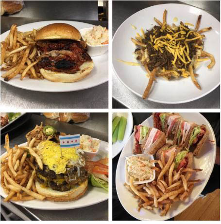 Top left- Pulled Pork, Top right- Gil's famous Poutine, Bottom left- Build your own Burger, Bottom right- The delicious House Club!