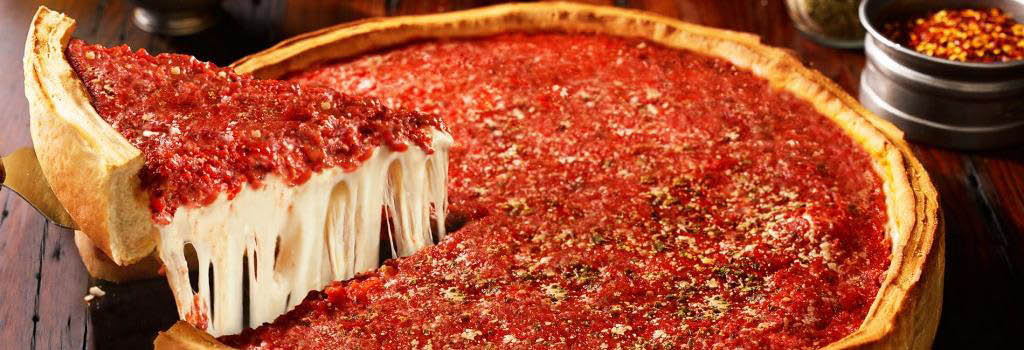 Delicious Deep Dish Chicago-Style Pizza banner