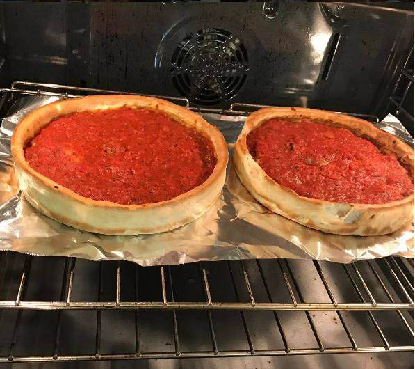 Giordano's fresh from the oven Chicago-Style deep dish pizza