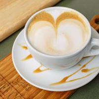 Hot coffee latte at Glo's Coffee Corner