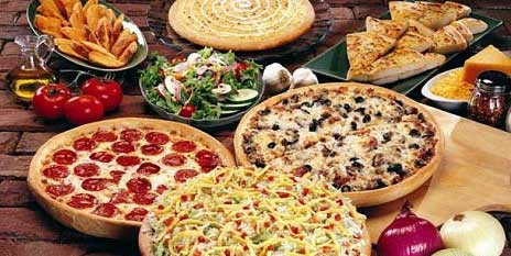 Pizza, breadsticks, buffet, wings, monkey bread, pizza toppings, fresh ingredients, thick crust, thin crust, pan pizza.