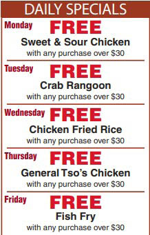 Daily specials from Golden Fortune Chinese Cuisine in Brookfield