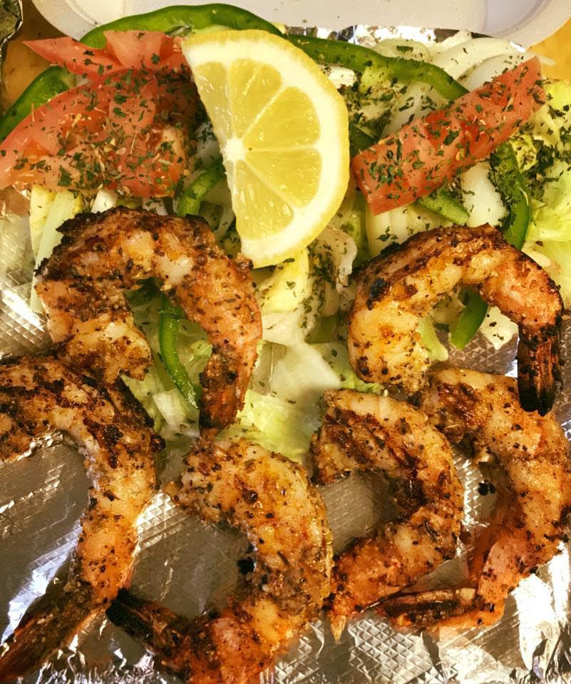Grilled shrimp and lemon.