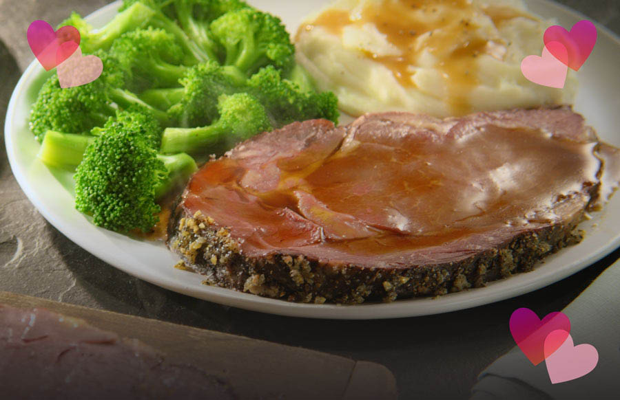meat, broccoli & mashed potatoes from Golden Corral