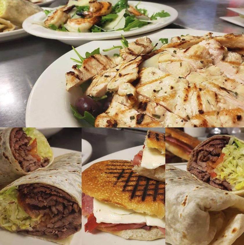 salads, paninis, wraps, chicken
